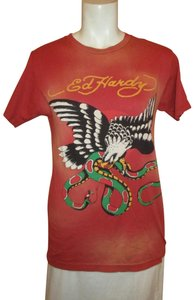 Ed Hardy Eagle Men Cotton Men's Onm001 T Shirt red