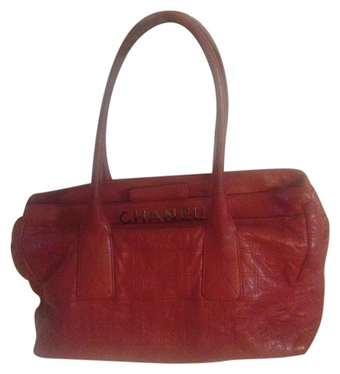 Chanel Vintage Leather Tote Satchel in Red