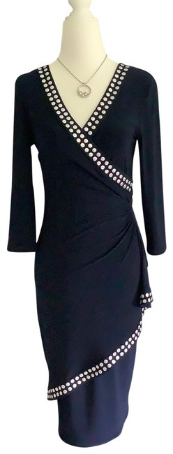Item - Midnight Blue/Silver Accents 171024 3/4 Slv with Dots Mid-length Cocktail Dress Size 2 (XS)
