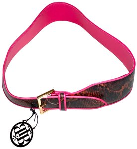 B-Low the Belt Python Leather Belt with Pink piping