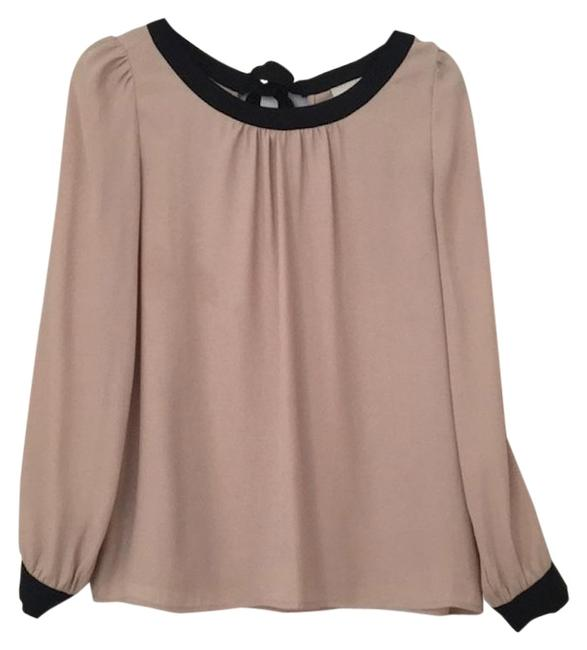 Item - Beige Nude with Black Collar and Cuffs Blouse Size 8 (M)