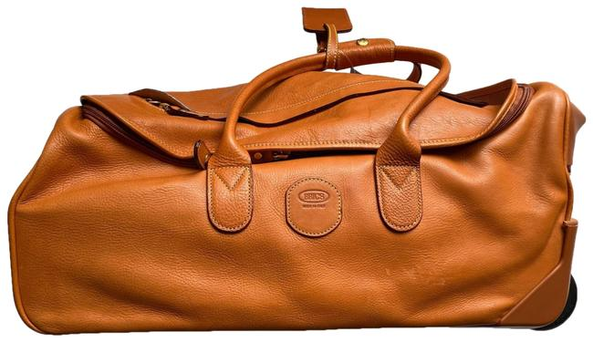 "Item - Carry On Life Pelle 21"" Rolling Duffel Tan Leather Weekend/Travel Bag"