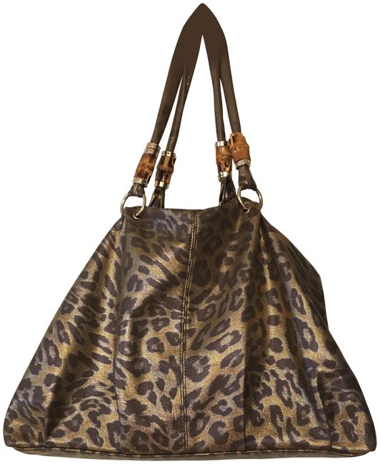 Lionel Leopard Print Brown and Gold Shimmer Faux Leather Shoulder Bag Lionel Leopard Print Brown and Gold Shimmer Faux Leather Shoulder Bag Image 1