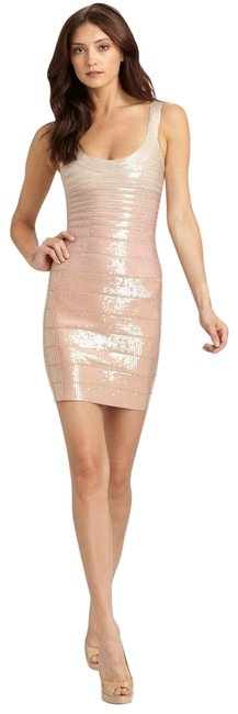 Item - Nude/Gold Ombre Ebba Sequin Bandage Bodycon Blush Powder Short Night Out Dress Size 8 (M)