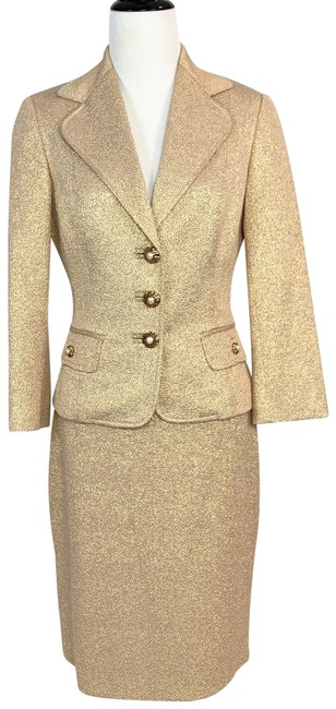 Item - Gold Metallic With Pearl Buttons Skirt Suit Size 4 (S)