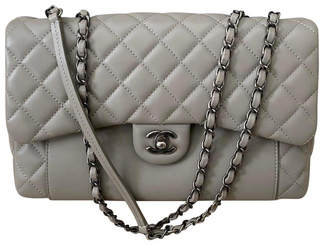 Chanel Classic Flap Grey Lambskin Leather Cross Body Bag Chanel Classic Flap Grey Lambskin Leather Cross Body Bag Image 1