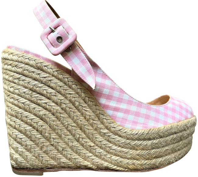 """Christian Louboutin Baby Pink/White Gingham """"Menorca"""" Espadrille Wedges Size EU 39 (Approx. US 9) Regular (M, B) Christian Louboutin Baby Pink/White Gingham """"Menorca"""" Espadrille Wedges Size EU 39 (Approx. US 9) Regular (M, B) Image 1"""
