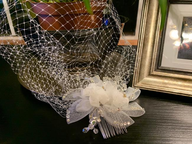 Blue Crystal Bridal Accessories Ivory Hair Accessory Blue Crystal Bridal Accessories Ivory Hair Accessory Image 1