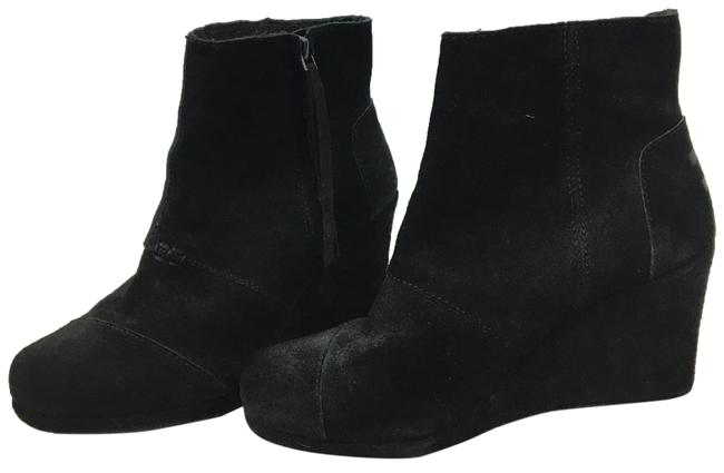 Item - Black Suede Wedge Boots/Booties Size US 7.5 Wide (C, D)