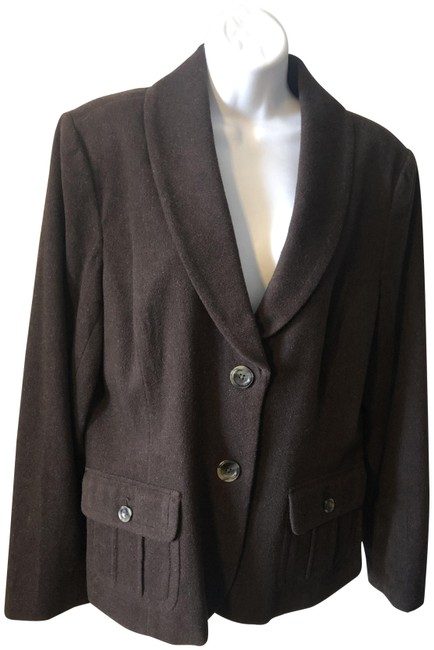 Item - Chocolate Brown Semi-fitted Lined Wool with Front Pockets Blazer Size 14 (L)
