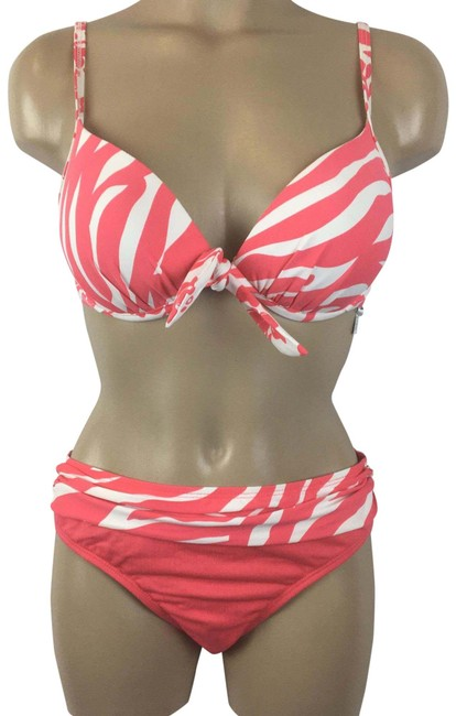 Item - Orange & White Print Bikini Set Size 6 (S)