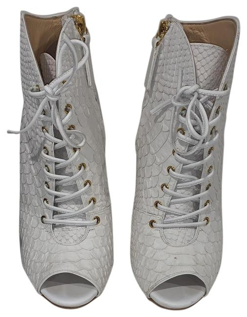 Giuseppe Zanotti White with Gold Hardware Golia Printed Blanco Boots/Booties Size EU 38 (Approx. US 8) Regular (M, B) Giuseppe Zanotti White with Gold Hardware Golia Printed Blanco Boots/Booties Size EU 38 (Approx. US 8) Regular (M, B) Image 1