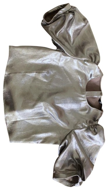 Item - Crop Metallic Silver Top