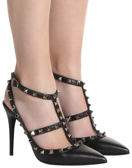 Item - Black Rockstud Noir Leather Ankle Strap Point Sandal Stiletto Heel Pumps Size EU 36.5 (Approx. US 6.5) Regular (M, B)