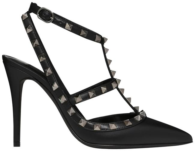 Item - Black Rockstud Noir Leather Ankle Strap Point Sandal Stiletto Heel Pumps Size EU 39.5 (Approx. US 9.5) Regular (M, B)