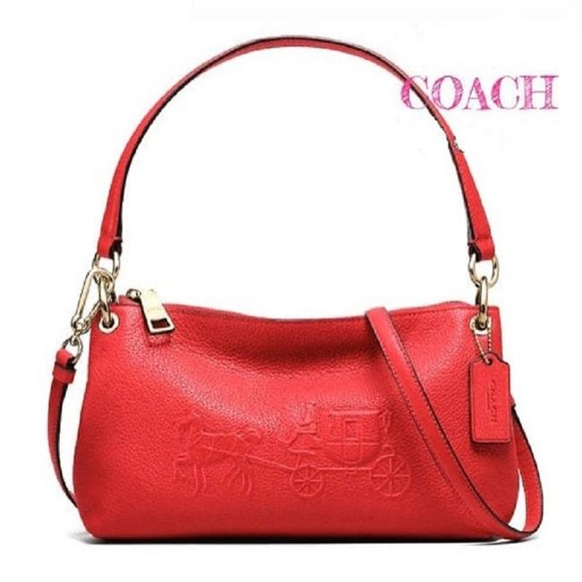 "Coach Charley Horse & Carriage Embossed ""Charley"" Convert Bright Red/Gold Genuine Pebble Leather Cross Body Bag Coach Charley Horse & Carriage Embossed ""Charley"" Convert Bright Red/Gold Genuine Pebble Leather Cross Body Bag Image 1"