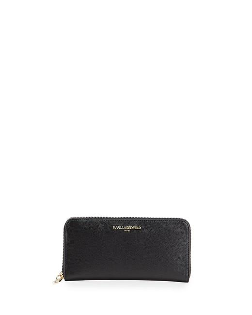 Karl Lagerfeld Black Clutch Paris Saffiano Leather Zip Around Wallet Karl Lagerfeld Black Clutch Paris Saffiano Leather Zip Around Wallet Image 1