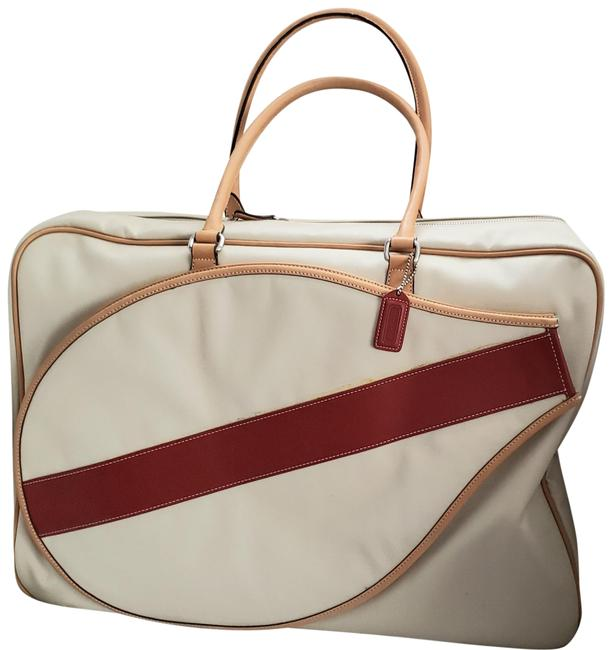 Item - Tennis Beige and Red Leather Trim Canvas Weekend/Travel Bag