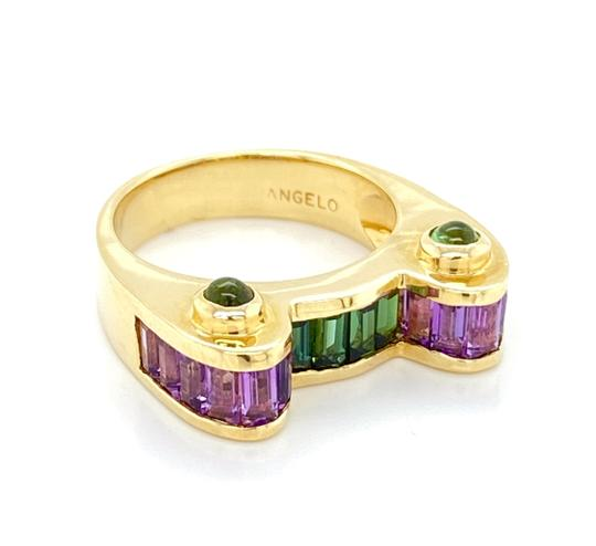 Preload https://img-static.tradesy.com/item/27166041/modern-vintage-m18249-angelo-14k-yellow-gold-amethyst-and-green-tourmaline-ring-0-1-540-540.jpg