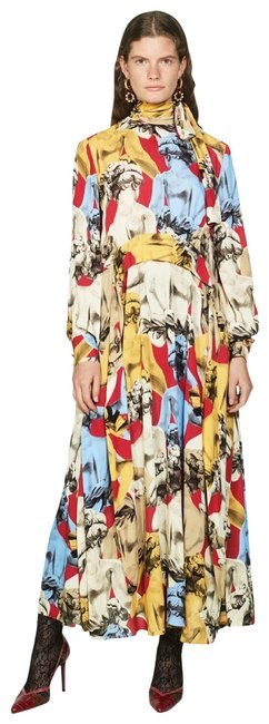 Item - Red Yellow Printed Maxi Mid-length Night Out Dress Size 2 (XS)
