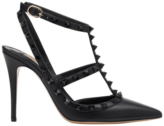 Item - Black Rockstud Tonal Stud Leather Ankle Strap Pointed Sandal Heel Pumps Size EU 37 (Approx. US 7) Regular (M, B)