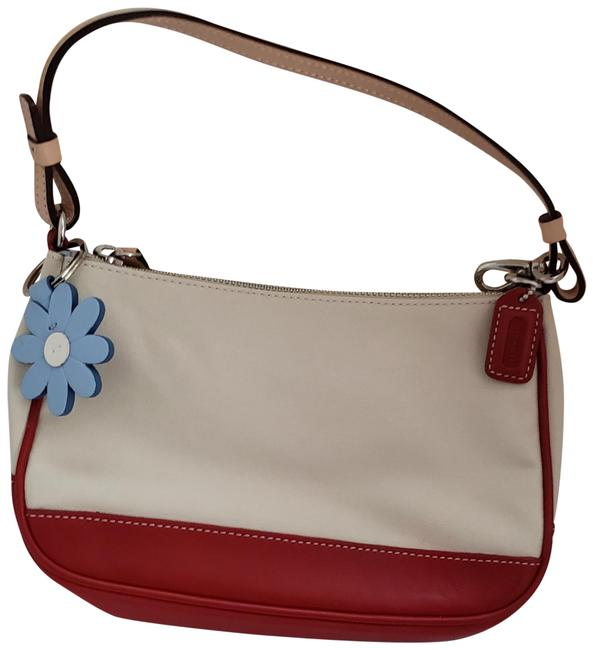 Item - With Beige Canvas/Red Leather Trim Clutch