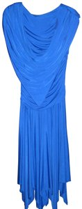 Casadei Vintage Draped Open Back Sleeveless Handkercheif Hem Dress