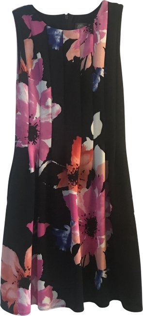Item - Navy Pink Floral Sleeveless Mid-length Short Casual Dress Size 10 (M)