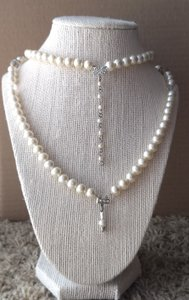 White Handmade Vintage Crystal Glass Pearl Necklace and Earrings Jewelry Set
