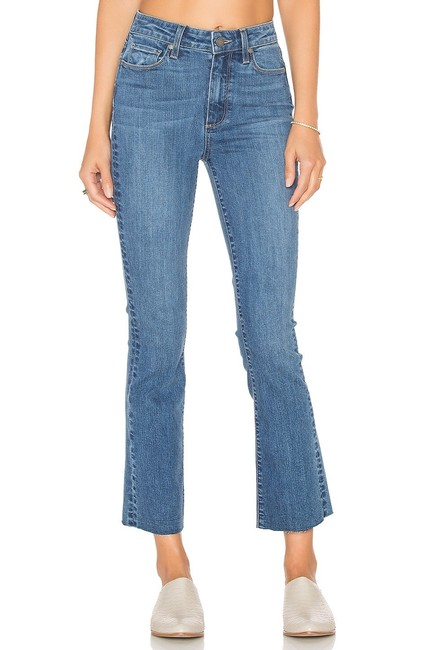 Paige Blue Light Wash Colette Crop In Cosmo Flare Leg Jeans Size 4 (S, 27) Paige Blue Light Wash Colette Crop In Cosmo Flare Leg Jeans Size 4 (S, 27) Image 1