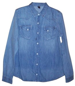 London Jean Vintage Cotton Button Down Shirt Washout Jeans