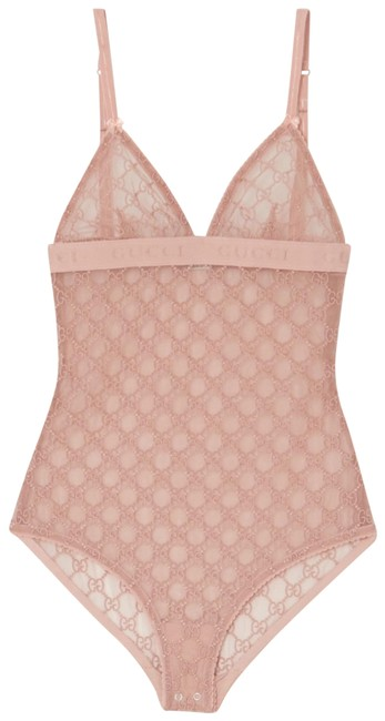 Item - Pink Gg Logo Tulle Lace Body One-piece Bathing Suit Size 4 (S)