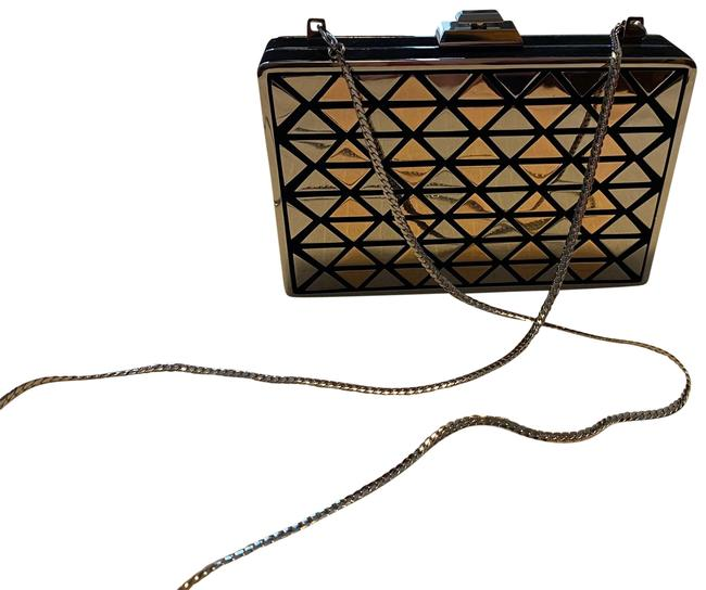 Item - Clutch Fit Minaudiere Gold Silver Black Metal and Suede Leather Cross Body Bag