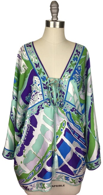 Item - White Purple Green Turquoise Blue Printed Silk Cover-up/Sarong Size 10 (M)