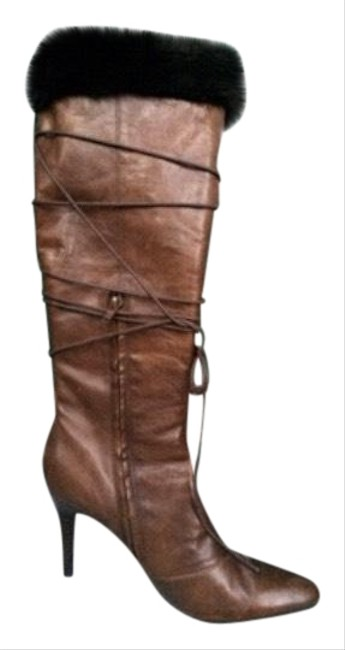 Item - Brown Stiletto with Rabbit Fur Boots/Booties Size US 6.5 Regular (M, B)