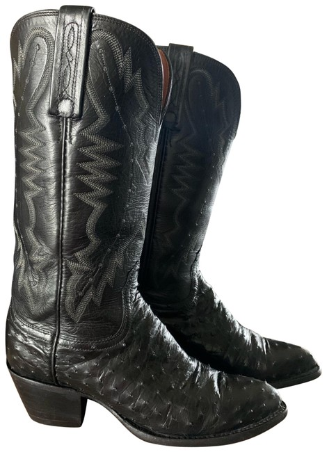 Item - Black Woman's 2000 Full Quill Ostrich Boots/Booties Size US 6.5 Regular (M, B)