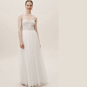 BHLDN Ivory Anthropologie Avaline Feminine Wedding Dress Size 12 (L)
