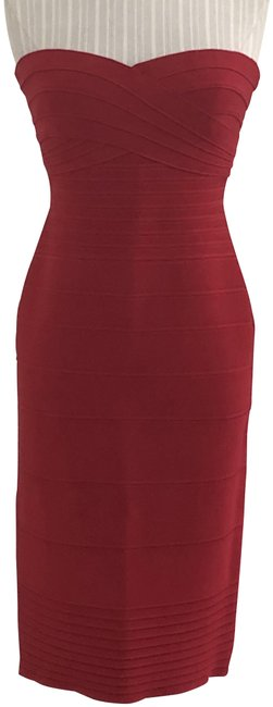 Item - Lipstick Red Strapless Style#hlt6d253 Bandage Mid-length Night Out Dress Size 8 (M)