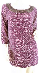 ELLEN TRACY Beaded Silk Top Currant
