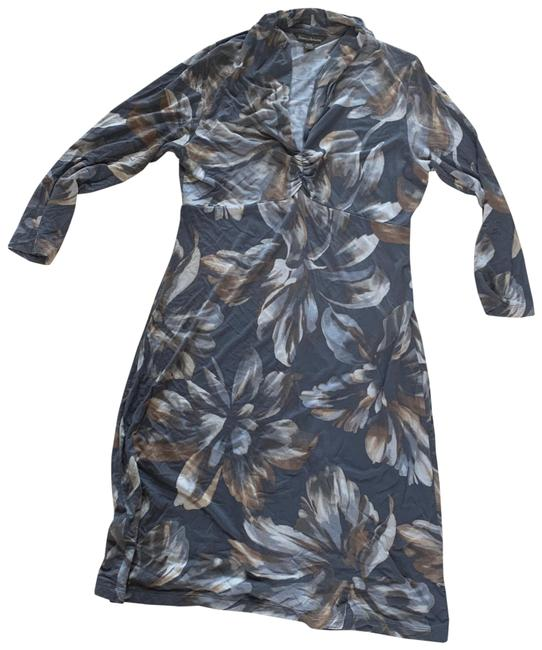 Item - Gray White Floral Like New Longsleeve Mid-length Short Casual Dress Size 8 (M)