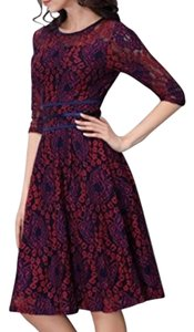 Miusol Lace 3/4 Sleeve Midi Fit & Flare Dress