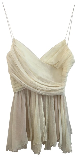 Item - Pale Yellow with Tan Underlay Spagetti Strap Layer Blouse Size 4 (S)