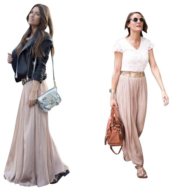 Item - Beige Silky Flowing Flowy Nude Taupe Long Summer Small Skirt Size 4 (S, 27)