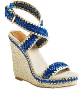 Tory Burch Crochet Leather Raffia Blue and natural Wedges