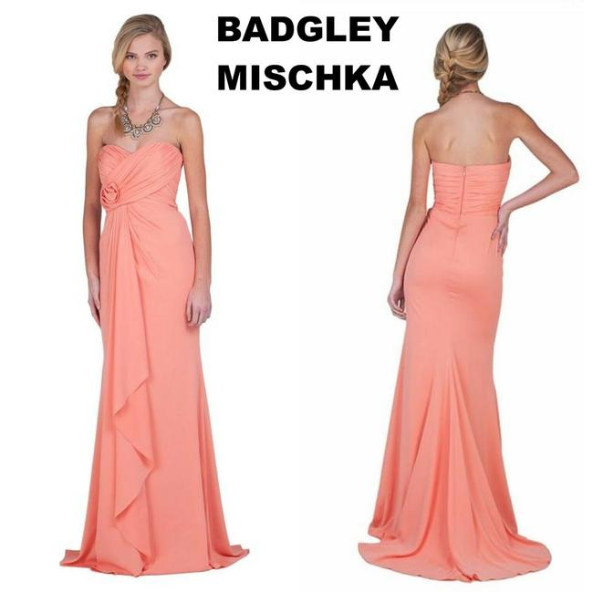 Item - Pink Coral Ruffle Strapless Gown Flower Drape Modern Bridesmaid/Mob Dress Size 10 (M)