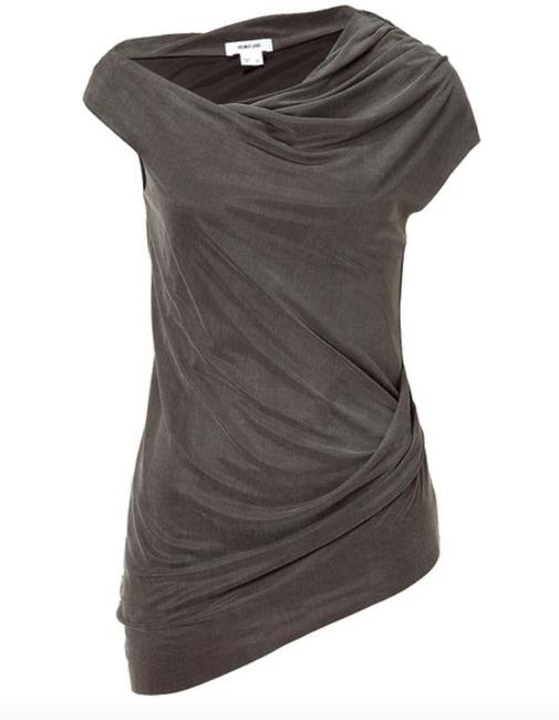 Item - Gray Jersey Shale Storm Sleeveless Ruched Draped Blouse Tank Top/Cami Size 8 (M)