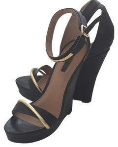 Rachel Zoe Black And Gold Wedges