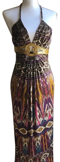 Item - Brown Pink Purple And Multi Colored Silk Halter New with Tags Long Casual Maxi Dress Size 2 (XS)