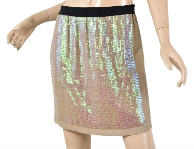Item - Beige Pumice Georgette Sequin Panel Skirt Size 4 (S, 27)
