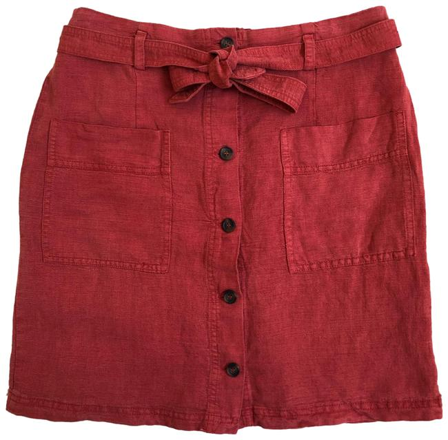 Item - Red C&c California Linen Button Front Utility Skirt Size 4 (S, 27)